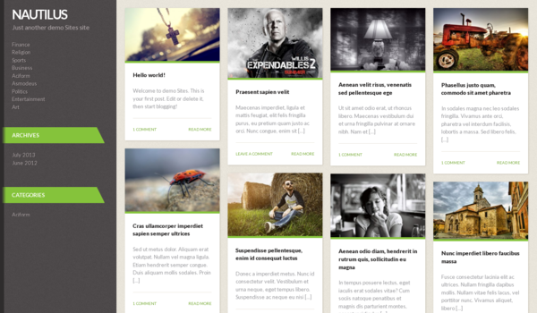 Free WordPress Theme 2013 vertical menu