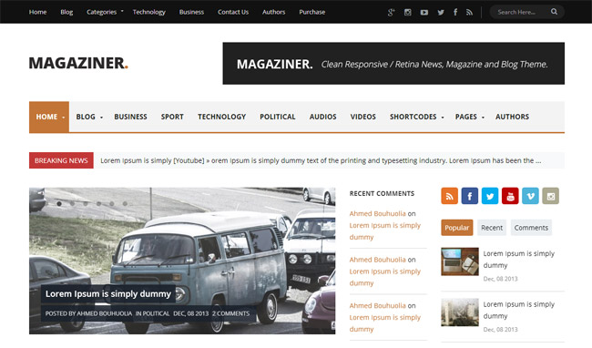 Magaziner Responsive Magazine WordPress Theme