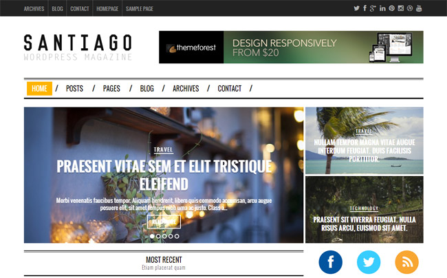 Santiago Responsive WordPress Magazine Theme
