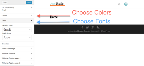Change Font and Colors using the Customize option in WordPress