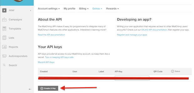 Creating an API key in MailChimp