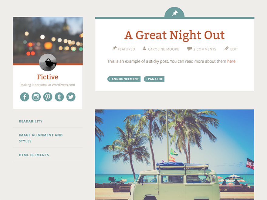 Fictive Free WordPress Theme